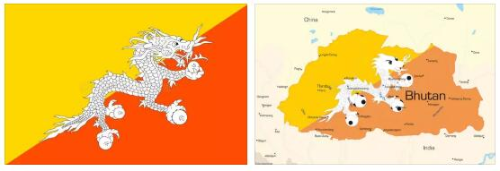 Bhutan Flag and Map