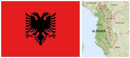 Albania Flag and Map 2