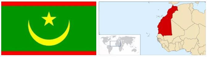 Mauritania Flag and Map