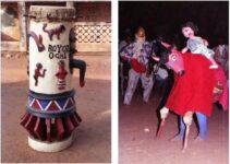 A head-high drum in Abomey Benin